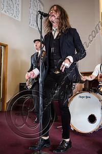 "LOS ANGELES, CA - JULY 30:  ((EXCLUSIVE COVERAGE)) Vocalist Jay Buchanan of Rival Sons performs at the ""Keep On Swinging"" music video shoot on July 30, 2012 in Los Angeles, California.  (Photo by Chelsea Lauren/WireImage)"