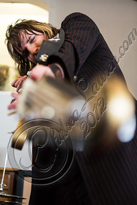 """LOS ANGELES, CA - JULY 30:  ((EXCLUSIVE COVERAGE)) Guitarist Scott Holiday of Rival Sons poses at the """"Keep On Swinging"""" music video shoot on July 30, 2012 in Los Angeles, California.  (Photo by Chelsea Lauren/WireImage)"""