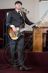 "LOS ANGELES, CA - JULY 30:  ((EXCLUSIVE COVERAGE)) Bassist Robin Everhart of Rival Sons performs at the ""Keep On Swinging"" music video shoot on July 30, 2012 in Los Angeles, California.  (Photo by Chelsea Lauren/WireImage)"