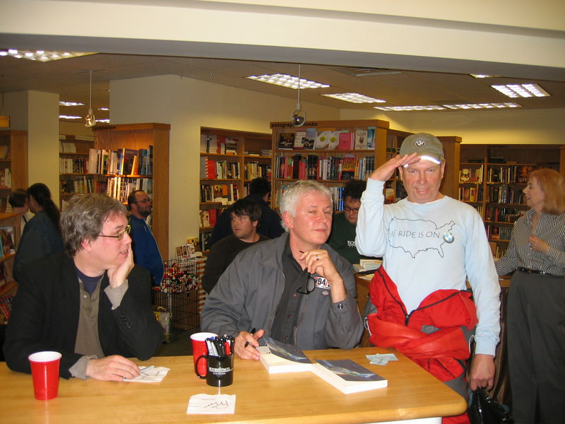 Booksigning in Dayton, Ohio last November. Rode my motorcycle up there. The shirt I had on has all the states listed on the back. As you ride through each state, you check it off. Bob checked off Ohio for me, then asked if he could initial out beside the box. Sure!