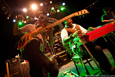 "Danyel Morgan, Robert Randolph, and Adam ""Shmeeans"" Smirnoff of Robert Randolph & The Family Band perform on February 10, 2011 in support of ""We Walk This Road"" at State Theatre in St. Petersburg, Florida"