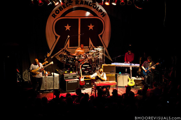 """Danyel Morgan, Lenesha Randolph, Marcus Randolph, Robert Randolph, Brett Andrew Haas, and Adam """"Shmeeans"""" Smirnoff of Robert Randolph & The Family Band perform on February 10, 2011 in support of """"We Walk This Road"""" at State Theatre in St. Petersburg, Florida"""