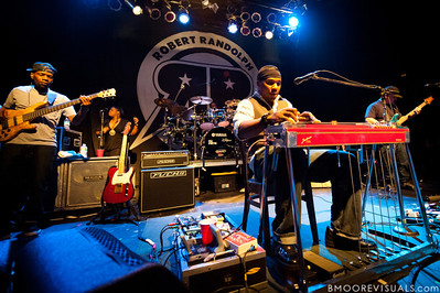 "Danyel Morgan, Lenesha Randolph, Robert Randolph, and Adam ""Shmeeans"" Smirnoff of Robert Randolph & The Family Band perform on February 10, 2011 in support of ""We Walk This Road"" at State Theatre in St. Petersburg, Florida"
