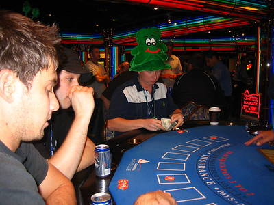 Dan with his lucky Shamrock hat in the casino.