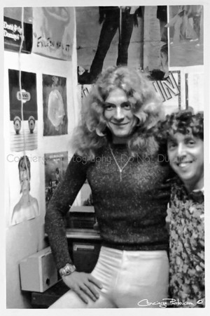 Robert Plant, Led Zeppelin with friend inside Polydor Records 1972