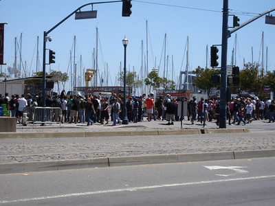 The line to get in - sold out show, 45,000 people
