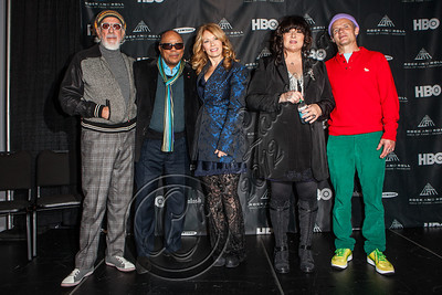 LOS ANGELES, CA - DECEMBER 11:  Producer Lou Adler, producer Quincy Jones, musician Nancy Wilson, musician Ann Wilson and bassist Flea of The Red Hot Chili Peppers attend the Rock & Roll Hall of Fame 2013 Inductee Press Conference at Nokia Theatre L.A. Live on December 11, 2012 in Los Angeles, California.  (Photo by Chelsea Lauren/WireImage)