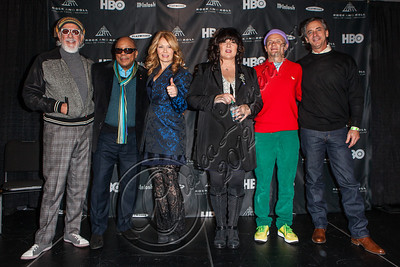 LOS ANGELES, CA - DECEMBER 11:  (L-R) Producer Lou Adler, producer Quincy Jones, musician Nancy Wilson, musician Ann Wilson, bassist Flea of The Red Hot Chili Peppers and President and CEO of the Rock and Roll Hall of Fame Foundation Joel Peresman attend the Rock & Roll Hall of Fame 2013 Inductee Press Conference at Nokia Theatre L.A. Live on December 11, 2012 in Los Angeles, California.  (Photo by Chelsea Lauren/WireImage)
