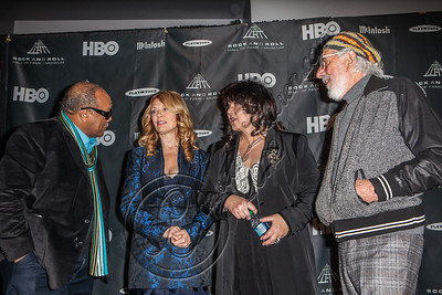 LOS ANGELES, CA - DECEMBER 11:  Producer Quincy Jones, musicians Nancy Wilson, musician Ann Wilson and producer Lou Adler attend the Rock & Roll Hall of Fame 2013 Inductee Press Conference at Nokia Theatre L.A. Live on December 11, 2012 in Los Angeles, California.  (Photo by Chelsea Lauren/WireImage)
