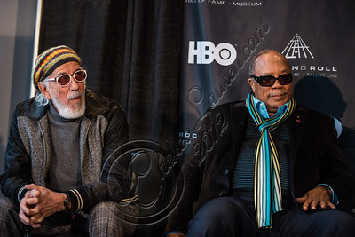 LOS ANGELES, CA - DECEMBER 11:  Producers Lou Adler (L) and Quincy Jones attend the Rock & Roll Hall of Fame 2013 Inductee Press Conference at Nokia Theatre L.A. Live on December 11, 2012 in Los Angeles, California.  (Photo by Chelsea Lauren/WireImage)