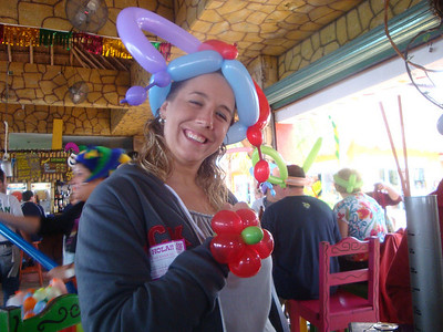 Sporting crazy balloon hats.
