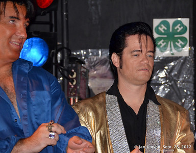 Matthew Spaulding (in gold) was the 2nd place winner of the Elvis Competition at the Stanly County Fair on September 25, 2012. Chuck Ayers (in blue) on left was the winner.