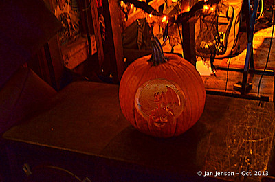 Halloween pumpkin by the stage