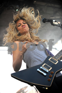 Sept 12, 2009-West Hollywood, California, USA-Musician, ALLISON ROBERTSON, guitar player for the DONNAS, on stage at the Sunset Strip Music Festival 2009, West Hollywood, California.  (Credit Image: cr  Scott Mitchell/ZUMA Press)