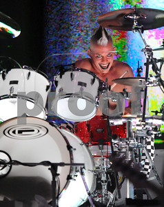 July 27, 2009-Universal City, California, USA-Musician, ADRIAN YOUNG, drummer, NO DOUBT, performing live to a sell out crowd at the Gibson Amphitheater, Universal City, (Los Angeles) California.    (Image Credit:  cr   Scott Mitchell/ZUMA Press)