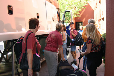 Here we are later on Saturday, loading our stuff onto the bus for Durango, Colorado.