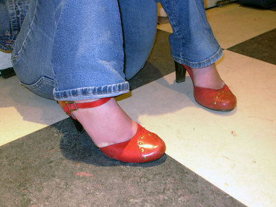 Anais Mitchell's famous red shoes.