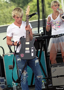 "Ross Lynch (starring as Austin Moon on the hit Disney Channel show, ""Austin & Ally"") and his sister Rydel Lynch performing with pop/rock band R5 at the 30th Annual New Jersey Festival of Ballooning held on July 29, 2012 at Solberg Airport in Whitehouse Station, New Jersey."