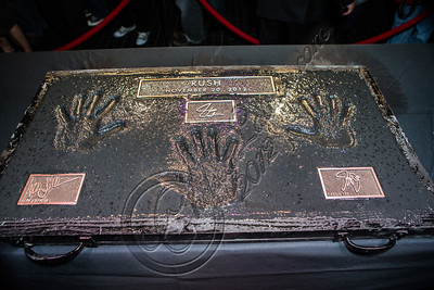HOLLYWOOD, CA - NOVEMBER 20:  A view of the handprints at Rush's induction into Guitar Center's historic RockWalk at Guitar Center on November 20, 2012 in Hollywood, California.  (Photo by Chelsea Lauren/WireImage)