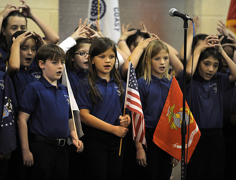 Ruthanne Coggins and her Bryson Elementary Chorus perform at the Simpsonville First Baptist Church Veterans Day Ceremony.<br /> GWINN DAVIS PHOTOS<br /> gwinndavisphotos.com (website)<br /> (864) 915-0411 (cell)<br /> gwinndavis@gmail.com  (e-mail) <br /> Gwinn Davis (FaceBook)