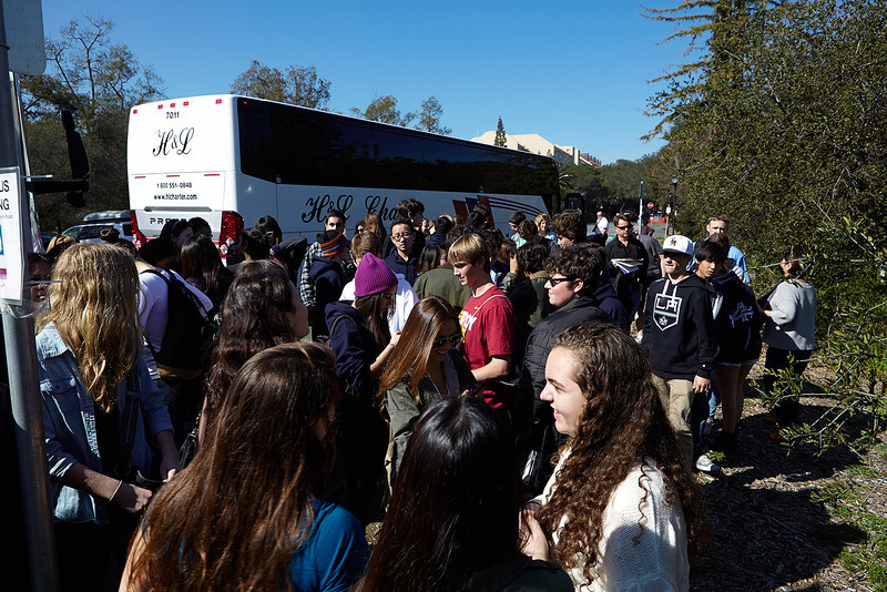 Boarding bus to Stanford University