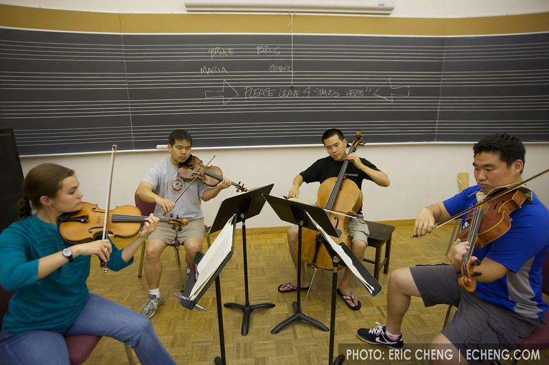 Maria, Bruce, Eric and Peter rehearse (photo: Scott St. John)