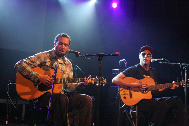 Ben Harper and Tom Morello playing the Body of War concert at Stubbs in Austin for SXSW 2008