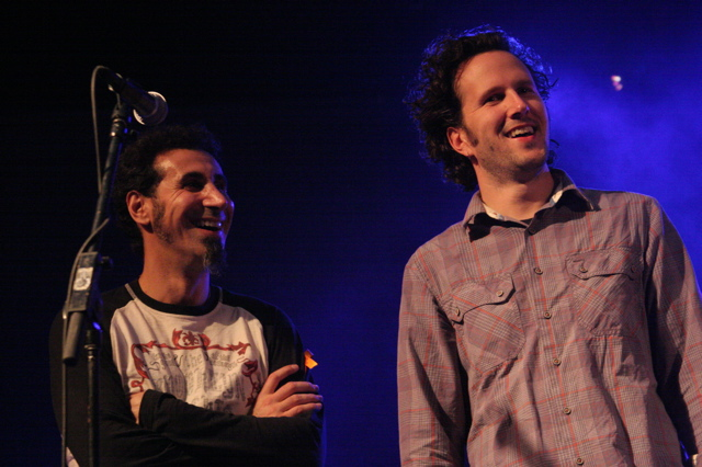 Serj Tankian and Mason Jennings at the Body of War concert at Stubbs in Austin for SXSW 2008