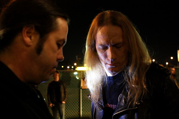 "Jared Tuten, Jason McMaster. Getting ready to film the video for ""Viva La Rock, Fantastico!"" with Danko Jones."