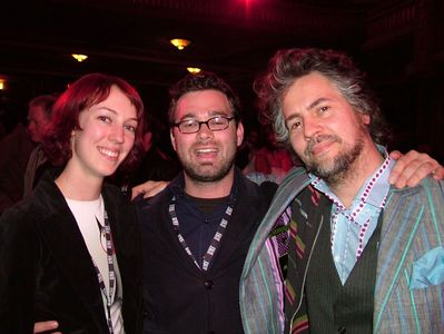 "Filmmaker Brad Beesly (center) and Wayne Coyne form the Flaming Lips (right) after the screening of ""The Fearless Freaks"" at SXSW in Austin, TX 2005."