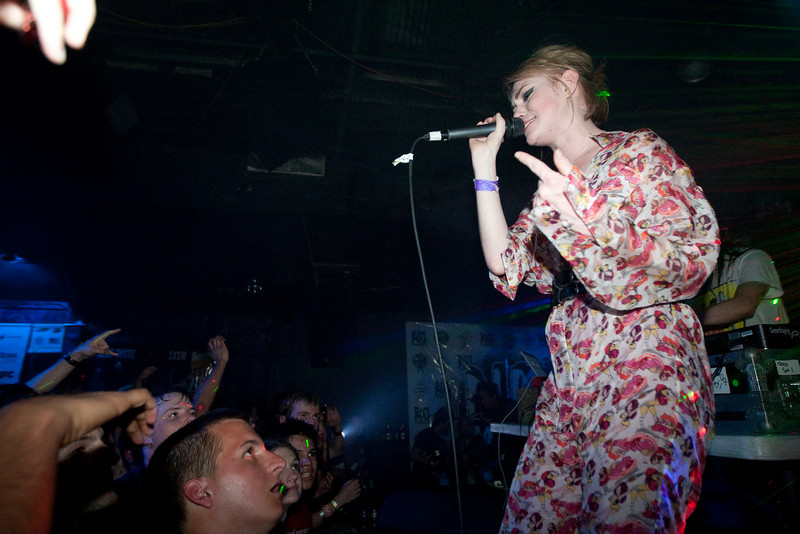 Uffie hops on stage during Steve Aoki's set.<br /> <br /> Elysium<br /> SXSW 2010