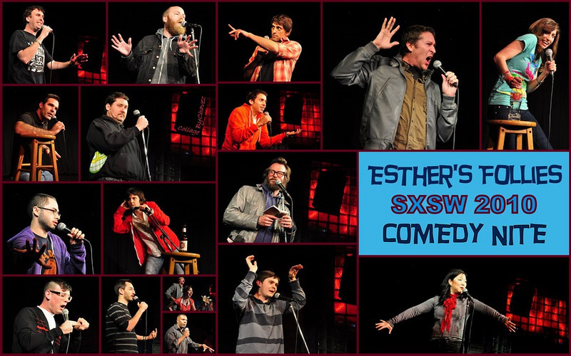 SXSW 2010 - On Saturday March 20th I shot Comedy Nite at Esther's Follies--the Show was a HOOT with 17 Comedians giving it their all.  Here's the line-up from L to R, Top to Bottom: Matt Braunger, Kyle Kinane, Howard Kremer, Scott Aukerman, Chelsea Peretti / Rod Delaney, Doug Benson, Ramin Nazer / Joe Mande, Tig Notaro, Ben Kronberg / Moshe Kasher, Mike Kaplan, Kurt Braunohler & Kristen Schaal (top), Jimmie Roulette (bottom), Dan Boulger and the famous Margaret Cho. It was indeed non-stop laughter for amost 5 hours!