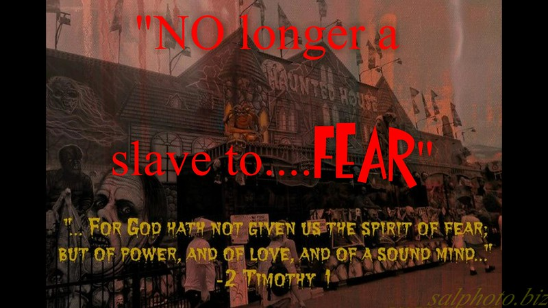 """NO longer a slave...to fear!""<br /> <a href=""https://youtu.be/AqOaqS8YT1U"">https://youtu.be/AqOaqS8YT1U</a><br /> <br /> <a href=""https://creativemusicartsy.wordpress.com/2016/05/22/music-parody-no-longer-a-slave-to-fear/"">https://creativemusicartsy.wordpress.com/2016/05/22/music-parody-no-longer-a-slave-to-fear/</a><br /> <br /> <a href=""https://goodnewseverybodycom.wordpress.com/2016/11/12/deep-thought-how-does-the-enemy-use-fear-tactics/"">https://goodnewseverybodycom.wordpress.com/2016/11/12/deep-thought-how-does-the-enemy-use-fear-tactics/</a><br /> <br /> <a href=""https://www.facebook.com/SalPhotoVideography/photos/a.815584478456426.1073741925.443035202378024/916100438404829/?type=3&theater"">https://www.facebook.com/SalPhotoVideography/photos/a.815584478456426.1073741925.443035202378024/916100438404829/?type=3&theater</a><br /> or<br /> <a href=""https://www.facebook.com/SalPhotoVideography/"">https://www.facebook.com/SalPhotoVideography/</a><br /> <br /> <br /> <a href=""http://salphotobiz.smugmug.com/Other/Sal-Photo-Videography-Multi/35845676_DFfJ8d#!i=3564899489&k=8Vx7SWk&lb=1&s=A"">http://salphotobiz.smugmug.com/Other/Sal-Photo-Videography-Multi/35845676_DFfJ8d#!i=3564899489&k=8Vx7SWk&lb=1&s=A</a>"