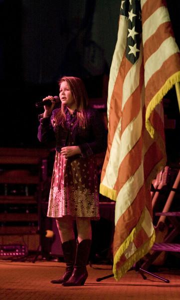 Somer Willard sings the National Anthemn.