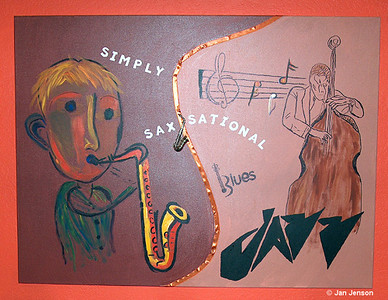 My Simply Sax-sational painting (48x60) - it WAS hanging at the House of Jazz in Charlotte, then they moved and I have no idea where this painting went... sure would like it back!