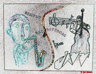 My Simply Sax-sational painting (48x60) - with a little creative license... thanks to Photoshop!