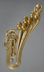 Trombone with six valves and seven bells. Adolphe Sax, Paris, 1876.