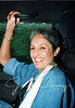"""Joan Baez on the way to the gig.  It rained 7"""" on Saturday and we were stuck in flood traffic. She was very accommodating and allowed this shot. 1992"""