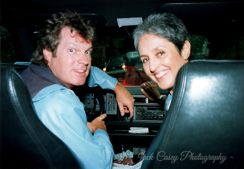 Jack & Joan Baez still stuck in the traffic - photo by Joan's tour manager 1992