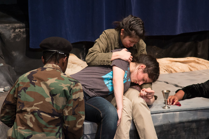 Fortinbras faces Hamlet, mortally wounded, with Horatio  -- Hamlet, Montgomery Blair High School, Silver Spring, MD, November 2016