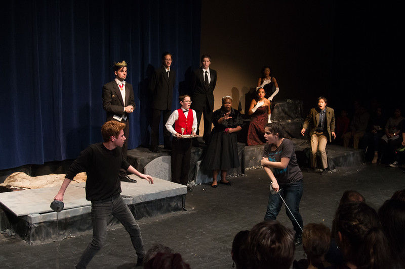 Laertes and Hamlet swordfight -- Hamlet, Montgomery Blair High School, Silver Spring, MD, November 2016