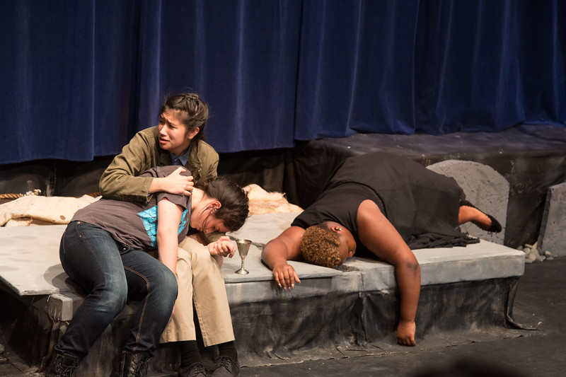 Hamlet, mortally wounded, with Horatio and Gertrude (dead by poison) -- Hamlet, Montgomery Blair High School, Silver Spring, MD, November 2016