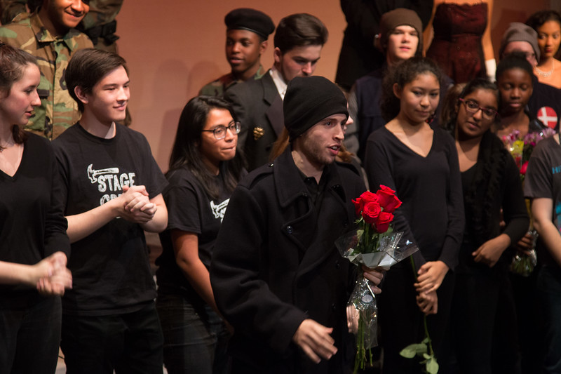 Noah presents one of thank you bouquets -- Hamlet, Montgomery Blair High School, Silver Spring, MD, November 2016