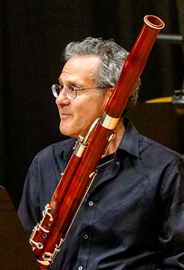 Benamin Kamins readies his bassoon.