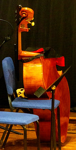 The Double Bass Viol relaxes before the concert.