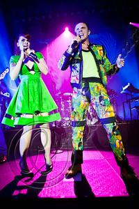 HOLLYWOOD, CA - JUNE 16:  Vocalists Ana Matronic (L) and Jake Shears of Scissor Sisters perform at Hollywood Palladium on June 16, 2012 in Hollywood, California.  (Photo by Chelsea Lauren/WireImage)