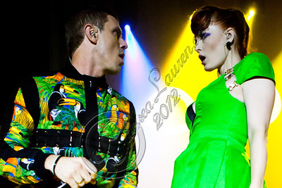 HOLLYWOOD, CA - JUNE 16:  Vocalists Jake Shears (L) and Ana Matronic of Scissor Sisters perform at Hollywood Palladium on June 16, 2012 in Hollywood, California.  (Photo by Chelsea Lauren/WireImage)