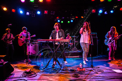 WEST HOLLYWOOD, CA - DECEMBER 12:  (L-R) Guitarist Michael Butler, guitarist Jason Bovino, vocalist/pianist George Shepperd, drummer Jared Tredly, Vocalist Amy Sheppard and bassist Emma Sheppard of Sheppard perform at The Roxy Theatre on December 12, 2012 in West Hollywood, California.  (Photo by Chelsea Lauren/WireImage)