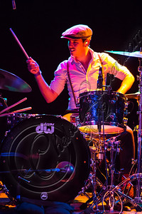 WEST HOLLYWOOD, CA - DECEMBER 12:  Drummer Jared Tredly of Sheppard performs at The Roxy Theatre on December 12, 2012 in West Hollywood, California.  (Photo by Chelsea Lauren/WireImage)