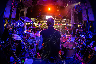 FORT LAUDERDALE, FL - NOVEMBER 27:  (EDITORS NOTE: Images were shot using a fisheye lens) Drummer Shannon Larkin of Godsmack performs onboard Shiprocked! cruise on November 27, 2012 in Fort Lauderdale, Florida.  (Photo by Chelsea Lauren/Getty Images)